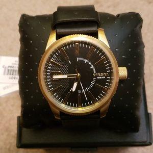 Diesel 1801 black leather strap watch